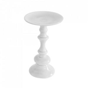 Suport alb din aluminiu pentru lumanare 25 cm Brio Zago