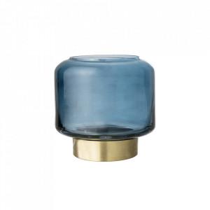 Suport albastru din sticla si alama pentru lumanare 8 cm Adria Bloomingville
