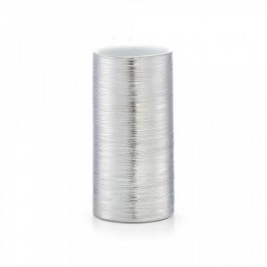 Suport argintiu din ceramica 7x13,5 cm pentru periuta dinti Brushed Tumbler Zeller