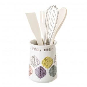 Suport cu ustensile alb/multicolor din ceramica Garbat Unimasa