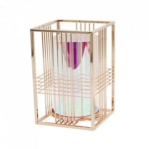 Suport lumanare argintiu din sticla si alama 20 cm Kadima Santiago Pons
