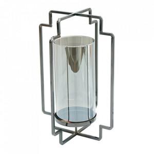 Suport lumanare argintiu din sticla si alama 26 cm Star Santiago Pons