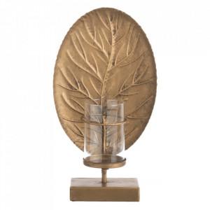 Suport lumanare auriu din zinc 41 cm Leaf Ixia