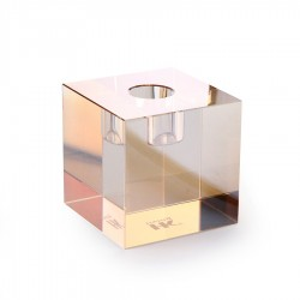 Suport lumanare din sticla 7 cm Amber Cube HK Living