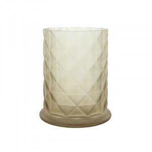 Suport lumanare grej din sticla 17 cm Moswen Lifestyle Home Collection