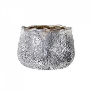 Suport lumanare gri din sticla 5 cm Terra Bloomingville