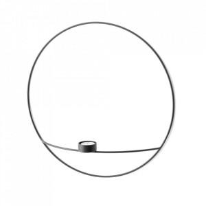 Suport lumanare negru din otel 44 cm POV Large Circular Menu