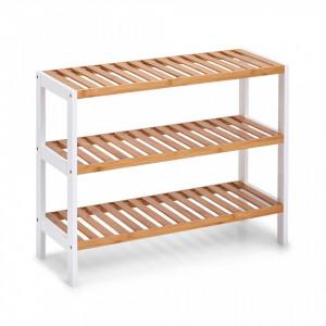 Suport maro/alb din lemn si MDF pentru incaltaminte Shoe Rack Bamboo Big Zeller