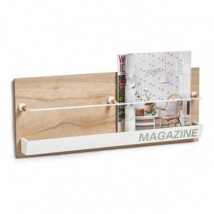 Suport maro/alb din MDF si metal pentru reviste Marely Zeller