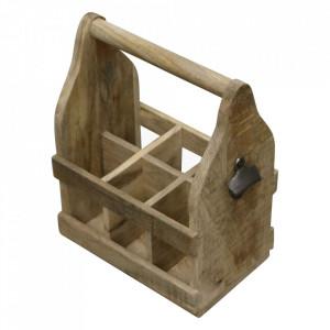 Suport maro din lemn de mango pentru sticle Vintage Raw Materials