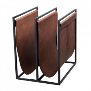 Suport maro/negru din metal si piele pentru reviste Freeman Large LifeStyle Home Collection