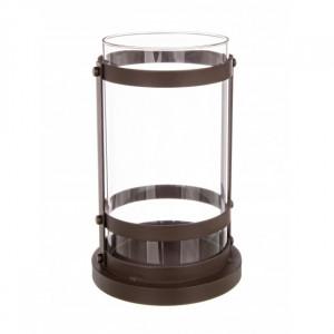 Suport maro/transparent din fier si sticla pentru lumanare 24 cm Cylinder Burnished Bizzotto