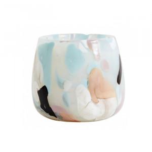 Suport multicolor din sticla pentru lumanare 8,5 cm Shawna Nordal
