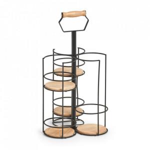 Suport negru/maro din metal si lemn pentru pahare si sticla Aaron Zeller