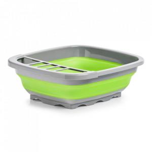 Suport pliabil gri/verde din plastic pentru vase Drainer Zeller