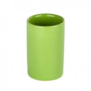 Suport verde din ceramica pentru periuta dinti 7x11 cm Polaris Wenko