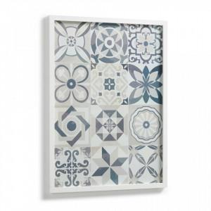 Tablou alb/abastru cu rama din lemn 53x73 cm Aliah La Forma