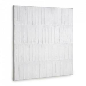 Tablou alb din canvas si lemn de pin 90x90 cm Basilisa Kave Home