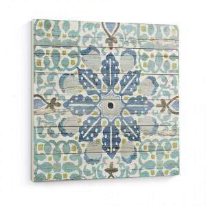 Tablou albastru patrat printat pe lemn 60x60 cm Dou La Forma