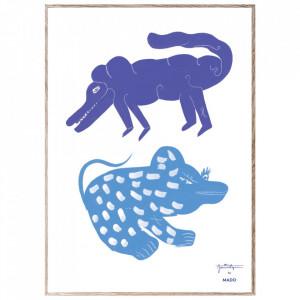 Tablou cu rama din lemn de stejar 50x70 cm Two Creatures Blue Paper Collective