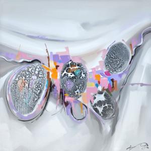 Tablou multicolor din canvas si lemn 100x100 cm Cells Ter Halle