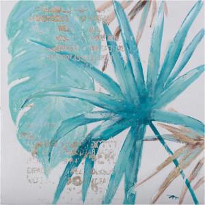 Tablou multicolor din canvas si lemn 60x60 cm Palm Ter Halle