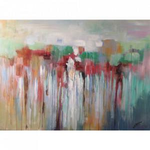 Tablou multicolor din canvas si lemn 90x120 cm Kanta Ter Halle