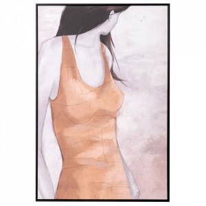 Tablou multicolor din canvas si lemn de pin 82x122 cm Ecaille Ixia