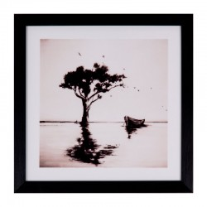 Tablou roz/negru din MDF si polistiren 30x30 cm Tree Somcasa