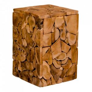 Taburet patrat maro din lemn de tec 29x29 cm Mosaic House Nordic