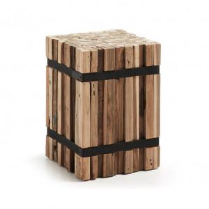 Taburet patrat maro/negru din lemn de tec si metal 32x32 cm Irma La Forma