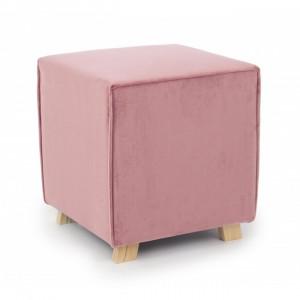 Taburet patrat roz din catifea si lemn 40x40 cm Adeline Bizzotto