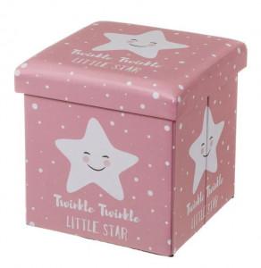 Taburet patrat roz pentru copii din MDF 38x38 cm Little Star Unimasa