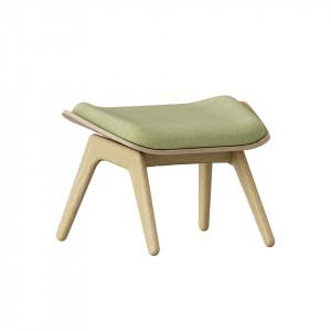Taburet pentru picioare dreptunghiular verde/maro stejar din poliester si lemn 46x60 cm The Reader Umage