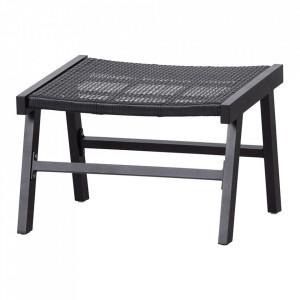 Taburet pentru picioare negru din polietilena si aluminiu 54x57 cm Puk Woood
