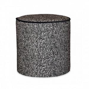 Taburet rotund alb/negru din poliester si lemn 35 cm Gabriel Bakako Opjet Paris