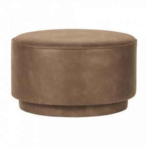 Taburet rotund din piele maro 60 cm Coffee Cognac Woood