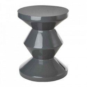 Taburet rotund gri ciment din poliester lacuit 33,5 cm Zig Zag Pols Potten