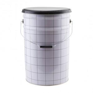 Taburet rotund negru/alb din piele si metal cu spatiu depozitare 30 cm Bucket House Doctor