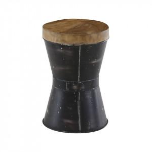 Taburet rotund negru din lemn reciclat si metal 30 cm Noda Zago