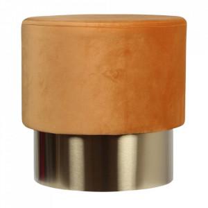 Taburet rotund portocaliu/auriu din catifea si metal 35 cm Serge Opjet Paris