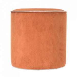 Taburet rotund portocaliu din catifea si lemn 34 cm Gabriel Opjet Paris