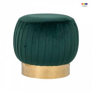 Taburet rotund verde din catifea si inox 49,5 cm Faye Green Richmond Interiors