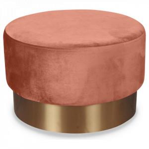 Taburet roz din catifea cu baza aurie din metal 55x35 Serge Opjet Paris