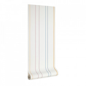 Tapet alb/multicolor din hartie 53x1000 cm Nahilin Kave Home