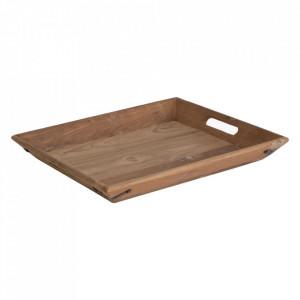 Tava dreptunghiulara maro din lemn de tec 46x53 cm Elements Raw Materials