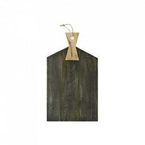 Tocator dreptunghiular maro/crem din lemn si iuta 28x49 cm Dark Mango Madam Stoltz