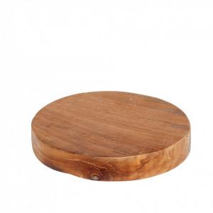 Tocator rotund maro din lemn de tec 20 cm Arlen Hubsch