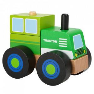 Tractor de jucarie 4 piese din lemn Vehicle Small Foot