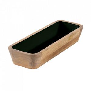 Vas decorativ maro/verde din lemn de mango 11x29 cm Tamuka Zago
